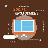 Writing note showing Social Engagement. Business photo showcasing Degree of engagement in an online community or society.  vector illustration
