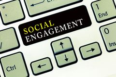 Writing note showing Social Engagement. Business photo showcasing Degree of engagement in an online community or society.  royalty free stock image