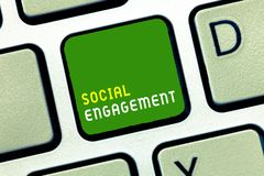 Writing note showing Social Engagement. Business photo showcasing Degree of engagement in an online community or society.  stock photography