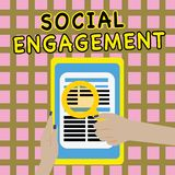 Writing note showing Social Engagement. Business photo showcasing Degree of engagement in an online community or society.  stock images