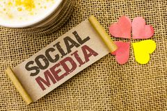 Writing note showing  Social Media. Business photo showcasing Communication Chat Online Messaging Share Community Societal written. Sticky Note the jute Royalty Free Stock Images