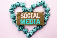 Writing note showing  Social Media. Business photo showcasing Communication Chat Online Messaging Share Community Societal written. Tear Cardboard Plain Royalty Free Stock Image