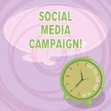 Writing note showing Social Media Campaign. Business photo showcasing Use of social networks to promote brands or services Blank. Color Thought Speech Bubble stock illustration