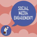 Writing note showing Social Media Engagement. Business photo showcasing Communicating in an online community platforms Man in. Necktie Carrying Briefcase stock illustration