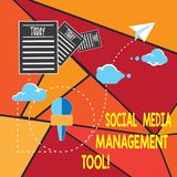 Writing note showing Social Media Management Tool. Business photo showcasing Application for analysisage your online networks. Information Passing through Cloud stock photo