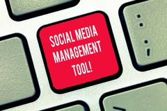 Writing note showing Social Media Management Tool. Business photo showcasing Application for analysisage your online. Networks Keyboard Intention to create royalty free stock photo