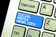 Writing note showing Social Media News Tips. Business photo showcasing Internet online communications new ways of. Knowledge Keyboard Intention to create royalty free stock photography