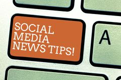Writing note showing Social Media News Tips. Business photo showcasing Internet online communications new ways of. Knowledge Keyboard key Intention to create stock image