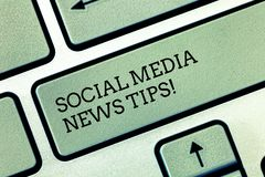 Writing note showing Social Media News Tips. Business photo showcasing Internet online communications new ways of. Knowledge Keyboard key Intention to create royalty free stock photos