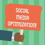 Writing note showing Social Media Optimization. Business photo showcasing Digital strategy Generate viral publicity Hu analysis. Hand Holding Colored Placard stock illustration