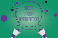 Writing note showing Social Media Optimization. Business photo showcasing Digital strategy Generate viral publicity Two Megaphone. And Circular Outline with royalty free illustration