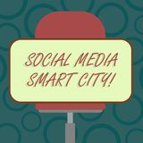 Writing note showing Social Media Smart City. Business photo showcasing Connected technological advanced modern cities. Blank Rectangular Shape Sticker Sitting stock illustration