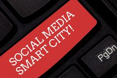 Writing note showing Social Media Smart City. Business photo showcasing Connected technological advanced modern cities. Keyboard key Intention to create vector illustration