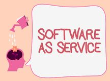 Writing note showing Software As Service. Business photo showcasing On Demand licensed on Subscription and centrally. Hosted stock illustration