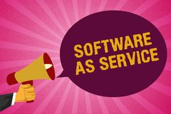 Writing note showing Software As Service. Business photo showcasing On Demand licensed on Subscription and centrally. Hosted royalty free illustration