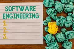 Writing note showing Software Engineering. Business photo showcasing Program Development in Systematic Quantifiable. Approach royalty free stock image