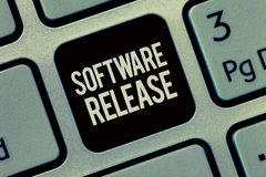 Writing note showing Software Release. Business photo showcasing sum of stages of development and maturity for program.  royalty free stock photos