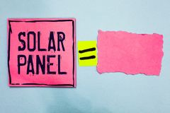 Writing note showing Solar Panel. Business photo showcasing designed to absorb suns rays source of energy generating Pink paper no. Tes reminders equal sign stock photo