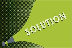 Writing note showing Solution. Business photo showcasing means of solving problem or dealing with difficult situation.  stock illustration