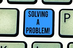Writing note showing Solving A Problem. Business photo showcasing include mathematical or systematic operation find. Solution Keyboard key Intention to create royalty free illustration