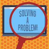 Writing note showing Solving A Problem. Business photo showcasing include mathematical or systematic operation find. Solution Magnifying Glass Enlarging Tablet vector illustration