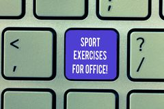 Writing note showing Sports Exercises For Office. Business photo showcasing Working out in the workplace stay fit stock photography