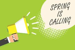 Writing note showing Spring Is Calling. Business photo showcasing Time for flowers March coming beautiful colors Sunny Speaker ann. Ouncement alarming signal stock illustration
