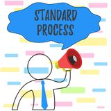 Writing note showing Standard Process. Business photo showcasing rules made to be matched with final product quality vector illustration