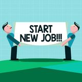 Writing note showing Start New Job. Business photo showcasing getting recruited in company Sign fresh work contract.  vector illustration