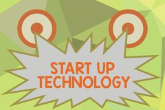 Writing note showing Start Up Technology. Business photo showcasing Young Technical Company initially Funded or Financed royalty free stock photography