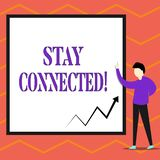 Writing note showing Stay Connected. Business photo showcasing To keep communicating on each other To retain in touch. Writing note showing Stay Connected stock illustration