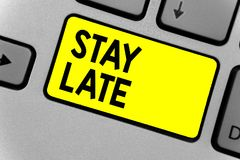 Writing note showing Stay Late. Business photo showcasing A routine in which a person goes to somewhere out of time Keyboard yello. W key Intention computer royalty free stock photography