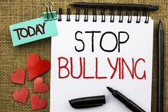 Writing note showing  Stop Bullying. Business photo showcasing Do not continue Abuse Harassment Aggression Assault Scaring written. Writing note showing  Stop Royalty Free Stock Photos