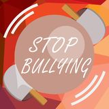 Writing note showing Stop Bullying. Business photo showcasing Fight and Eliminate this Aggressive Unacceptable Behavior.  vector illustration