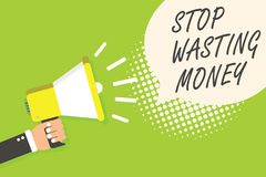 Writing note showing Stop Wasting Money. Business photo showcasing Organizing Management Schedule lets do it Start Now Speaker ann stock illustration