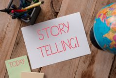 Writing note showing Storytelling. Business photo showcasing activity writing stories for publishing them to public. Writing note showing Storytelling. Business royalty free stock image
