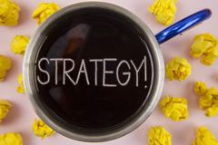 Writing note showing  Strategy Motivational Call. Business photo showcasing Group of ideas planned to achieve success written on B. Writing note showing Stock Photos