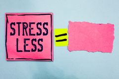 Writing note showing Stress Less. Business photo showcasing Stay away from problems Go out Unwind Meditate Indulge Oneself Pink pa. Per notes reminders equal stock image