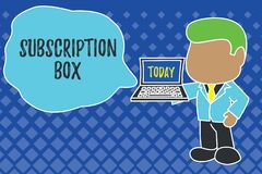 Writing note showing Subscription Box. Business photo showcasing button if you clicked on will get news or videos about. Writing note showing Subscription Box stock illustration