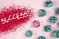 Writing note showing  Success Motivational Call. Business photo showcasing Achievement Accomplishment of some purpose written on I. Writing note showing  Success Royalty Free Stock Photos