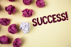 Writing note showing  Success Motivational Call. Business photo showcasing Achievement Accomplishment of some purpose written on P. Writing note showing  Success Stock Image