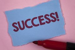 Writing note showing  Success Motivational Call. Business photo showcasing Achievement Accomplishment of some purpose written on T. Writing note showing  Success Stock Photography