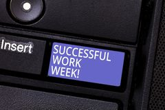 Writing note showing Successful Work Week. Business photo showcasing productive and satisfying working days in a week. Keyboard key Intention to create computer stock images