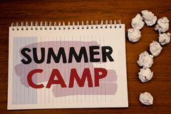 Writing note showing  Summer Camp. Business photos showcasing Place in country where children make activities during holidays. Writing note showing  Summer Camp Stock Photography