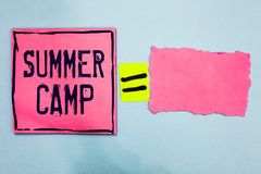 Writing note showing Summer Camp. Business photo showcasing Supervised program for kids and teenagers during summertime. Pink pape. R notes reminders equal sign stock images