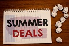 Writing note showing  Summer Deals. Business photos showcasing Special Sales Offers for Vacation Holiday Trips Price Discounts. Writing note showing  Summer Royalty Free Stock Images