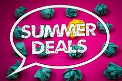 Writing note showing Summer Deals. Business photos showcasing Special Sales Offers for Vacation Holiday Trips Price Discounts. Writing note showing Summer Deals royalty free stock images