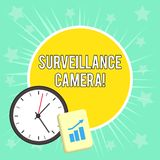 Writing note showing Surveillance Camera. Business photo showcasing Closed Circuit Television transmit signal on. Writing note showing Surveillance Camera vector illustration