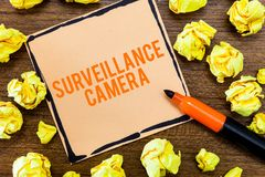 Writing note showing Surveillance Camera. Business photo showcasing Closed Circuit Television transmit signal on stock image