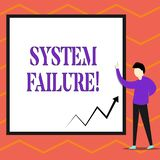 Writing note showing System Failure. Business photo showcasing Occur because of a hardware failure or a software issue. Writing note showing System Failure royalty free illustration